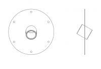 BinMaster Rotary Level Control - BinMaster Mounting Plates - BinMaster - BinMaster GRMP-16 20° Mild Carbon Steel Top Mounting Plate with Black Neoprene Gasket