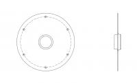 BinMaster Rotary Level Control - BinMaster Mounting Plates - BinMaster - BinMaster GRMP-1 0° Mild Carbon Steel Side Mounting Plate with Black Neoprene Gasket