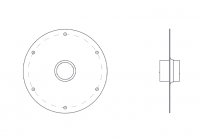 BinMaster Rotary Level Control - BinMaster Mounting Plates - BinMaster - BinMaster GRMP-2 0° Mild Carbon Steel Top Mounting Plate with Black Neoprene Gasket