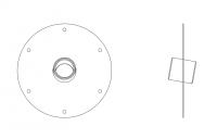 BinMaster Rotary Level Control - BinMaster Mounting Plates - BinMaster - BinMaster GRMP-9 10° Mild Carbon Steel Top Mounting Plate with Black Neoprene Gasket