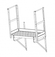 "Greene Easy Step Sidewall Stairs - Greene Easy Step Sidewall Stairs for 44"" Rings - Greene - 44"" Greene Twin Platform with 2 End Kickboards"