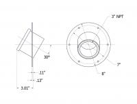 SmartBob-TS1 Remote Sensors - SmartBob-TS1 Mounting Plate Options - BinMaster - BinMaster 30° Mounting Plate for TS1