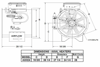 "Brock - 24"" Brock Axial Heater Natural Gas & Propane Vapor - Hi-Lo - for Fan Model AX24 or LC24 - Image 2"